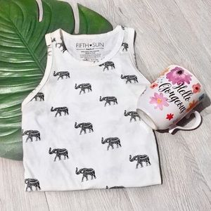 NWOT White Elephant Print Tank Top Graphic Tee New